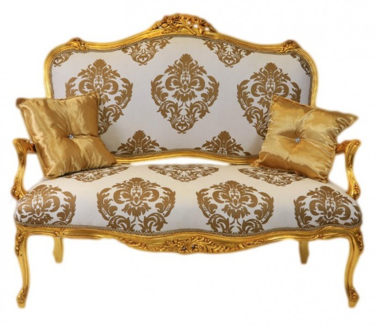 Casa padrino baroque sofa white gold pattern gold for Sofa barock
