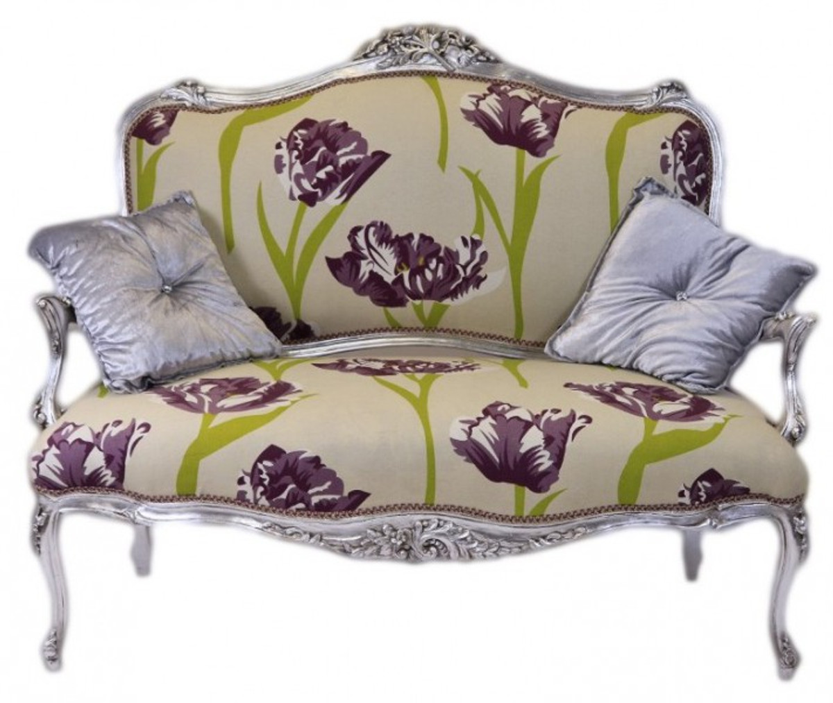 casa padrino barock creme blumen muster silber. Black Bedroom Furniture Sets. Home Design Ideas
