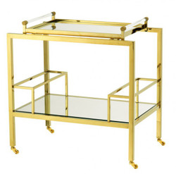 Casa Padrino Luxury Bar Trolley Trolley made ​​of stainless steel and glass gold finish 72 x 47 x H. 72 cm - Luxury Hotel & Restaurant Furniture