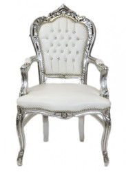 Casa Padrino Baroque Dinner Chair with armrests White / Silver Leatherlook Bling Bling rhinestones