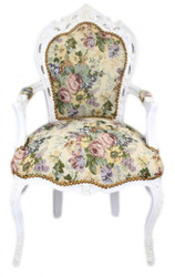 Casa Padrino Baroque Dinner Chair with armrests floral design / antique white