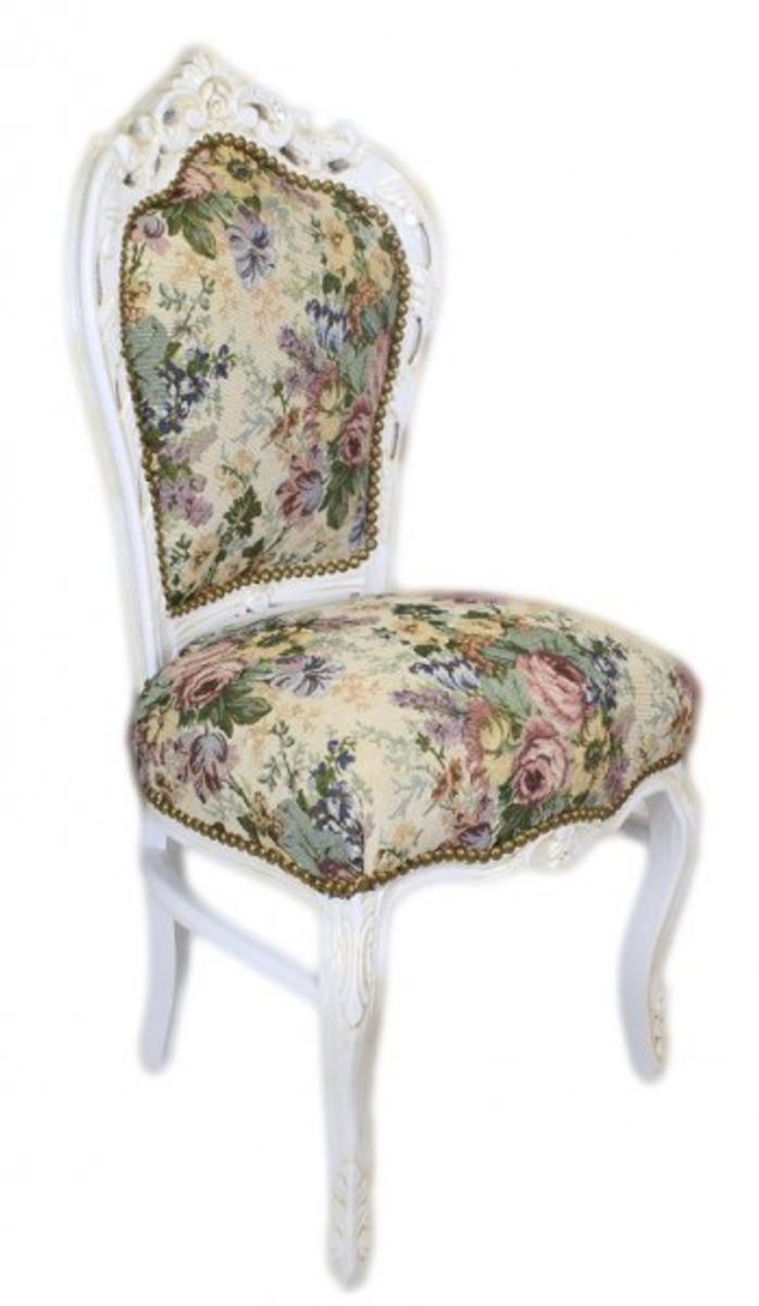 Stühle weiß antik  Casa Padrino Barock Esszimmer Stuhl Blumen Muster / Antik Weiss ...