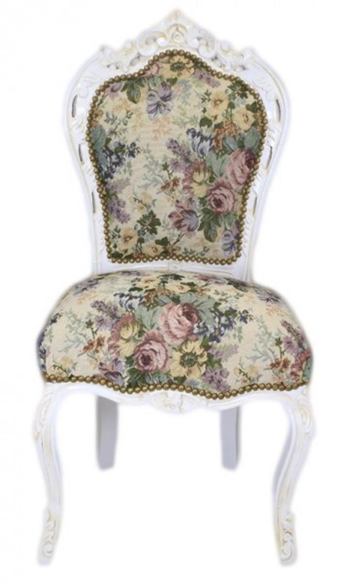 Casa Padrino Barock Esszimmer Stuhl Blumen Muster Antik