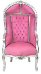 Casa Padrino Baroque Children throne Rose / Silver - Ballon armchair baroque furniture