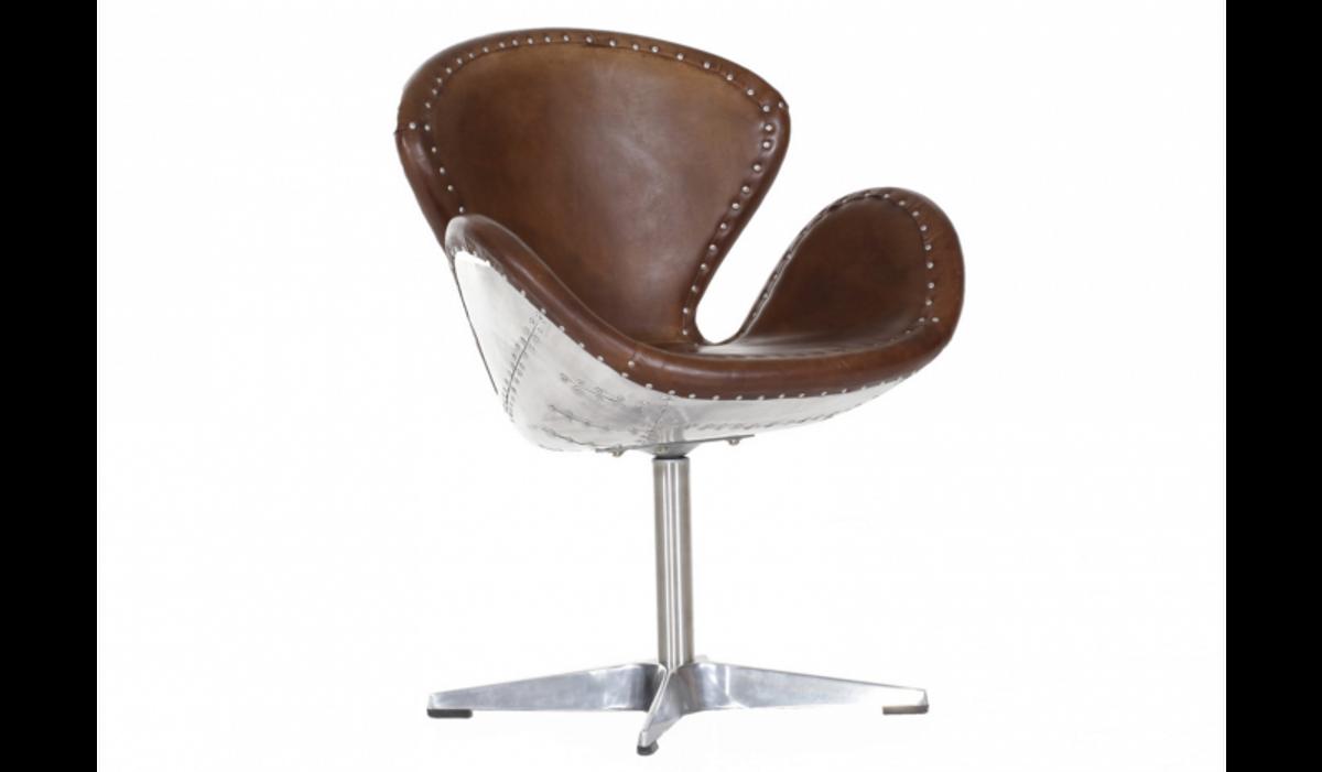 Schreibtischstuhl design  Luxus Art Deco Schreibtisch Stuhl Echtleder Braun / Aluminium ...