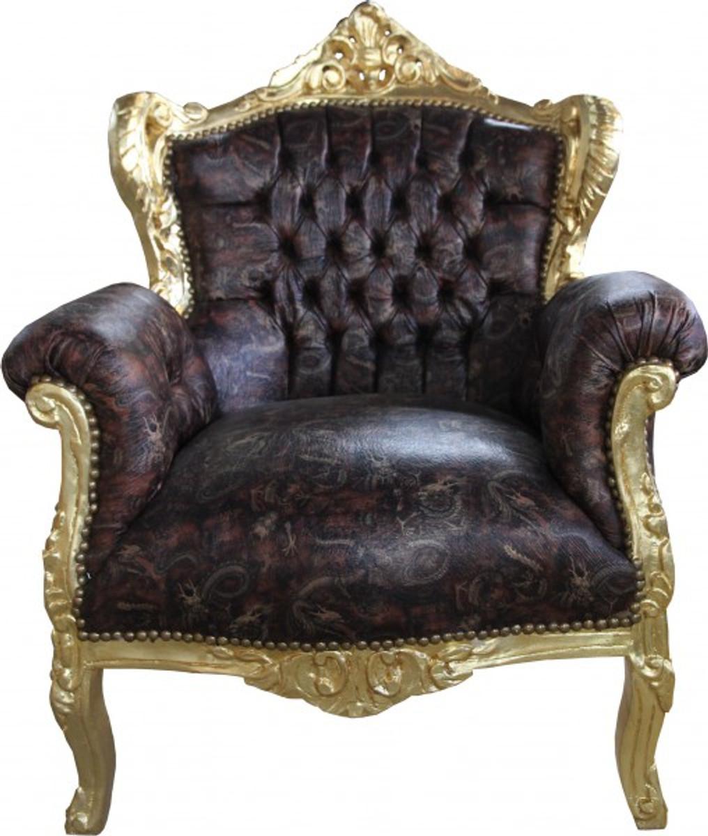 casa padrino barock sessel lord braun gold lederoptik antik stil sessel barock sessel modell. Black Bedroom Furniture Sets. Home Design Ideas