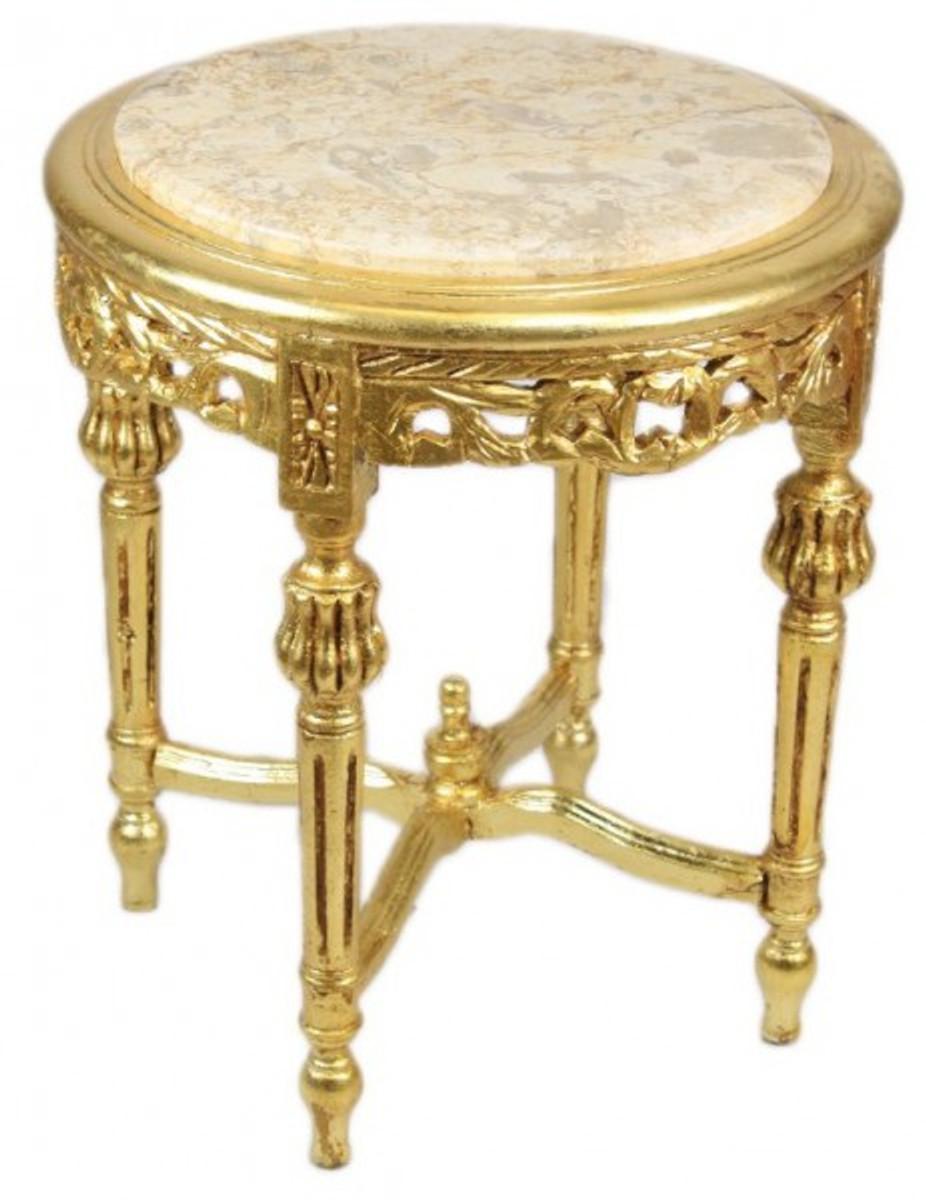 Casa padrino barock beistelltisch mit cremefarbener for Beistelltisch marmorplatte