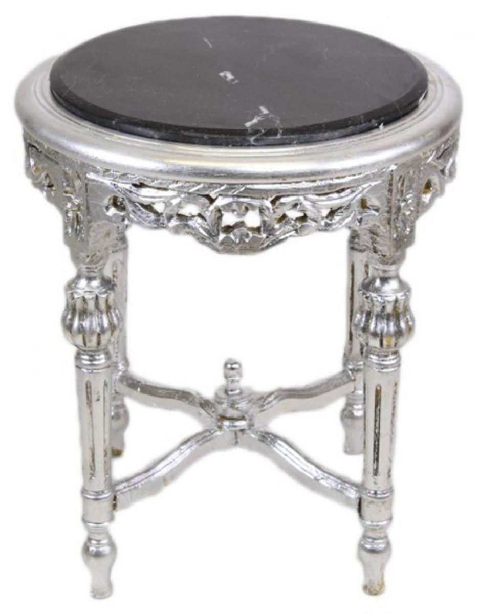 Casa padrino barock beistelltisch mit schwarzer for Marmorplatte rund