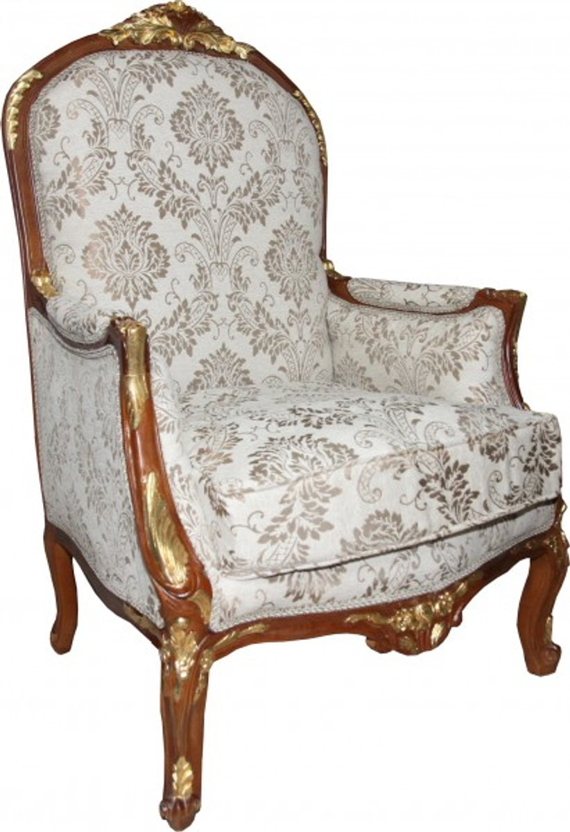 Casa padrino baroque salon chair cream brown gold mod1 for Sessel union jack
