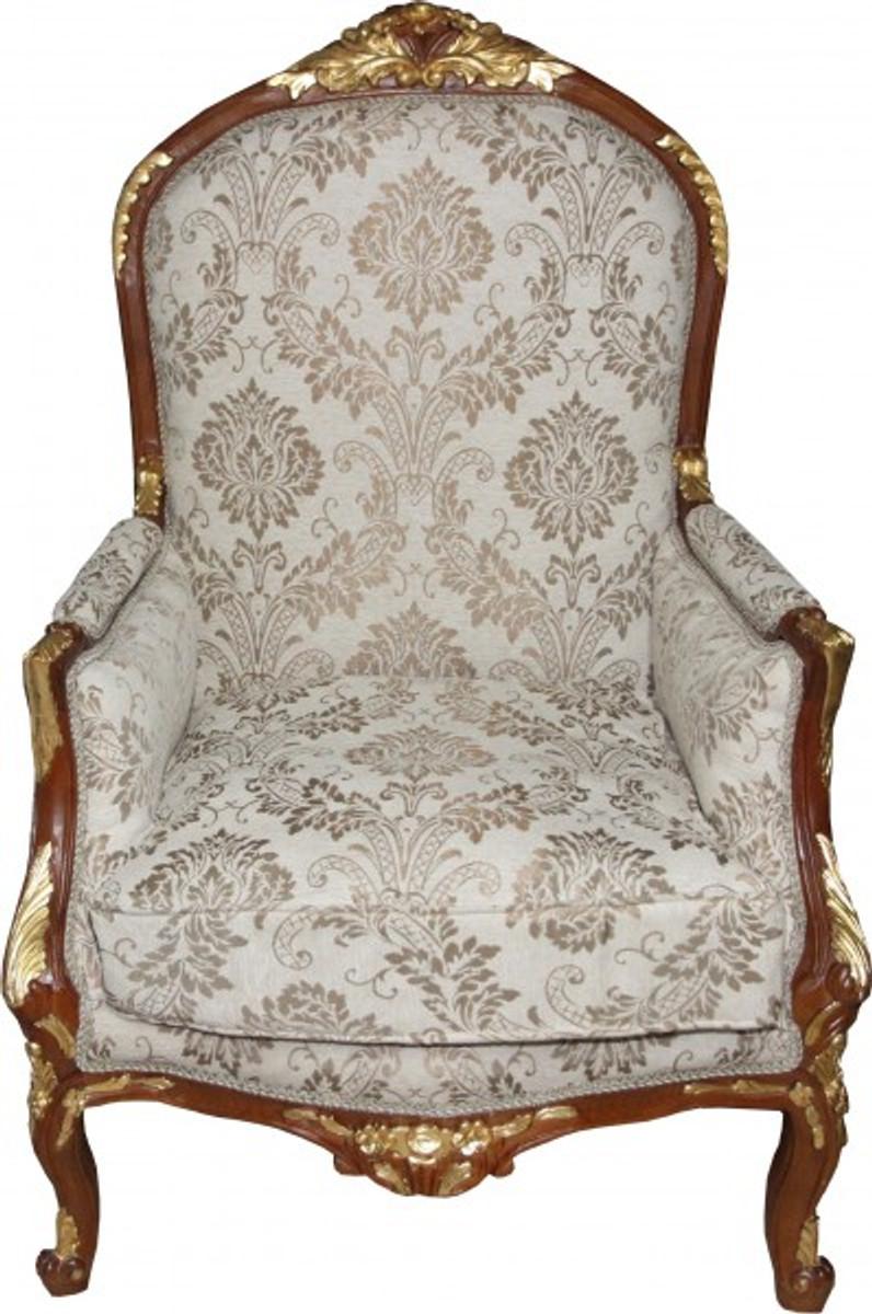 casa padrino barock salon sessel creme braun gold mod1 m bel antik stil limited edition. Black Bedroom Furniture Sets. Home Design Ideas