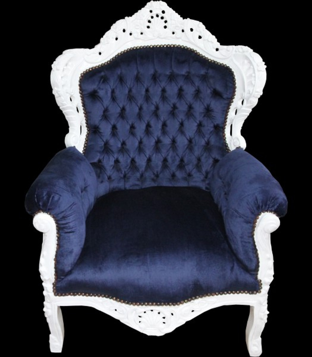 Casa padrino baroque armchair king royal blue white for Sessel union jack