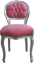 Casa Padrino Ladys Chair Pink / Silver with Bling Bling diamante - dressing table chair
