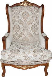 Casa Padrino Baroque Wingchair Cream / Brown / Gold Mod2 - furniture antique style - Limited Edition