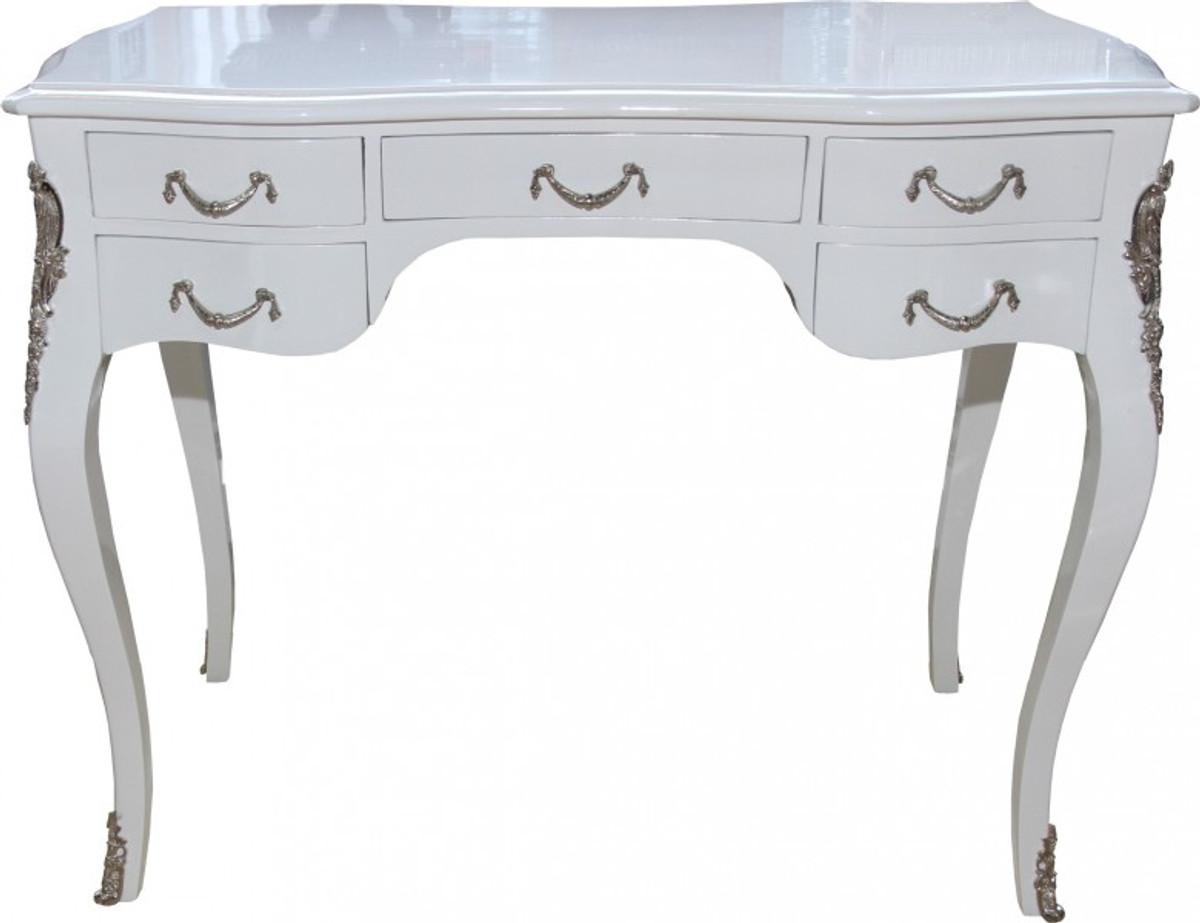 Casa Padrino Luxury Baroque Desk High Gloss White Silver