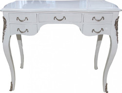 Casa Padrino luxury Baroque Desk High Gloss White / Silver 100 x 80 x 58 cm secretary luxury furniture