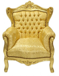 Casa Padrino Baroque Children's armchair gold pattern / gold - Furniture