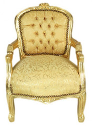 Casa Padrino Baroque high chair gold pattern / Gold - Armchair - Antique style furniture