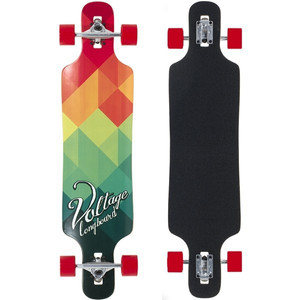Voltage Longboard Drop Through Komplettboard Red / Green 39 x 9.5 inch  - Complete - Special Edition mit Koston Kugellagern – Bild 1