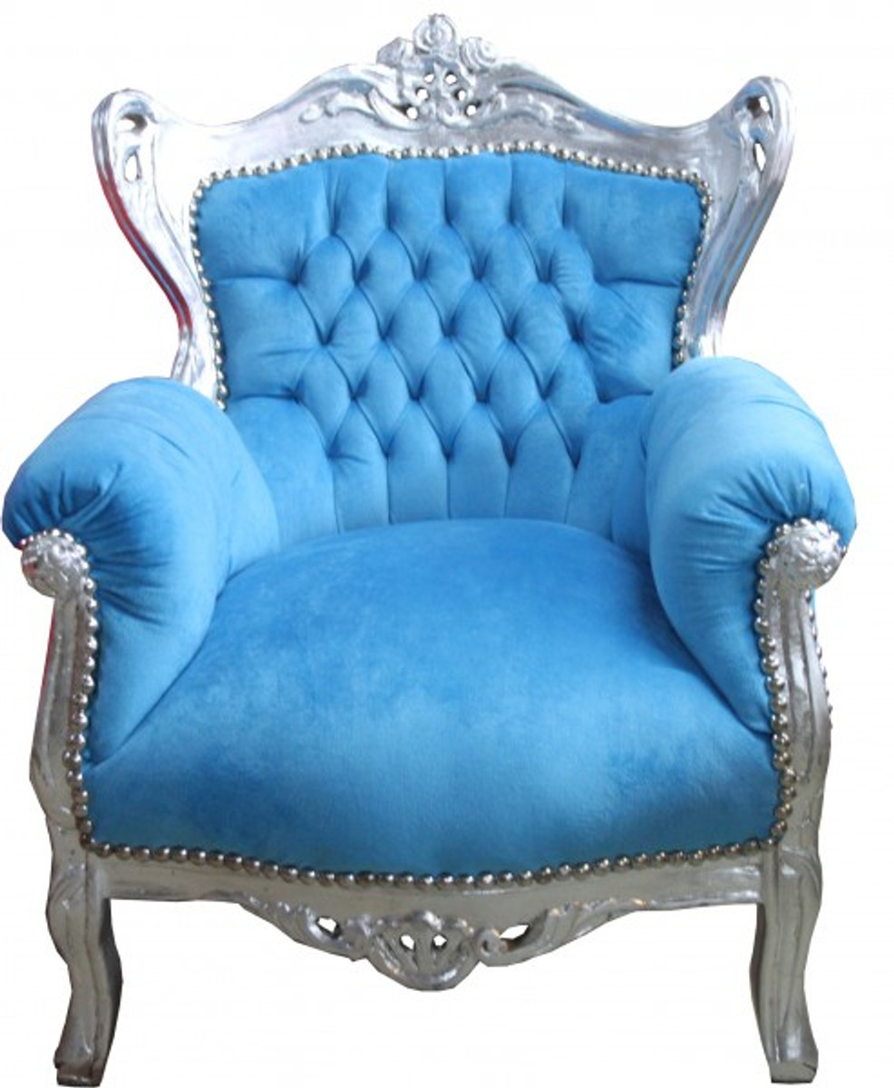 Casa padrino baroque kids armchair turquoise blue silver for Sessel barock