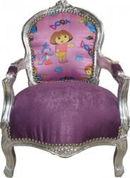 Casa Padrino Barock Kinder Stuhl Lila/Silber Mod1 - Kindermöbel