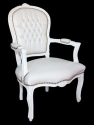 Casa Padrino Baroque Salon Chair White leather-look / white with bling bling rhinestones - furniture antique style