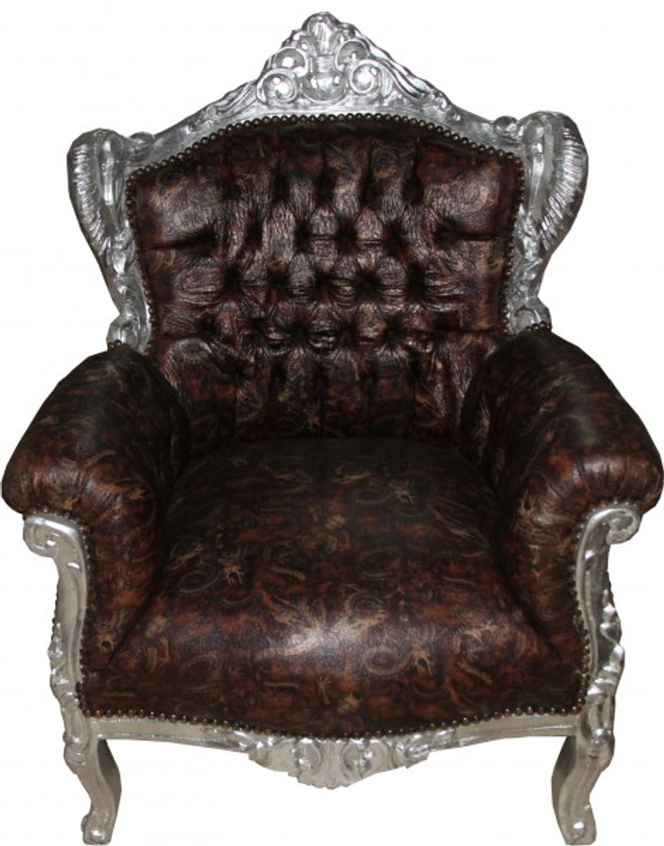 casa padrino baroque armchair lord brown silver leather. Black Bedroom Furniture Sets. Home Design Ideas