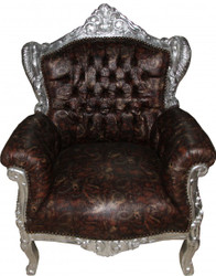 Casa Padrino Baroque Armchair Lord Brown / silver leather look with dragon motif - Antique style