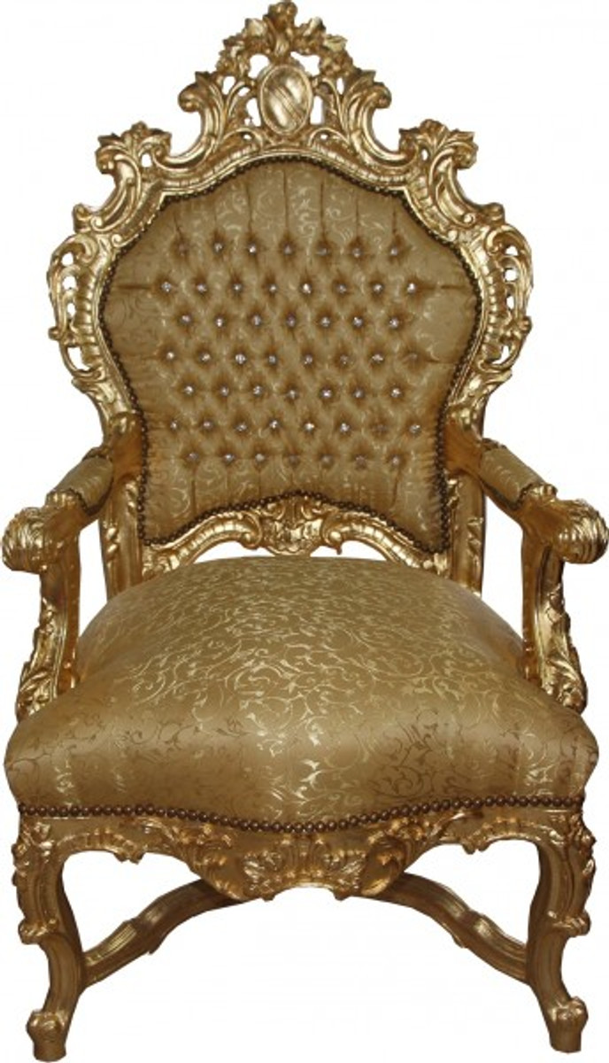 Casa padrino baroque luxury throne chair gold pattern for Baroque furniture usa