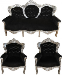 "Casa Padrino baroque living room ""King"" Black / Silver Bling Bling diamante - 3 seater sofa + 2 armchairs"