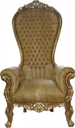Casa Padrino Baroque throne Mod3 Majestic Gold Pattern / Gold with Bling Bling Rhinestones - Giant armchair - throne chair