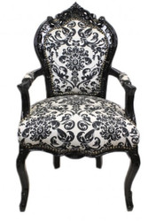 Casa Padrino Baroque Dinner Chair Flower Pattern Black / White with armrest