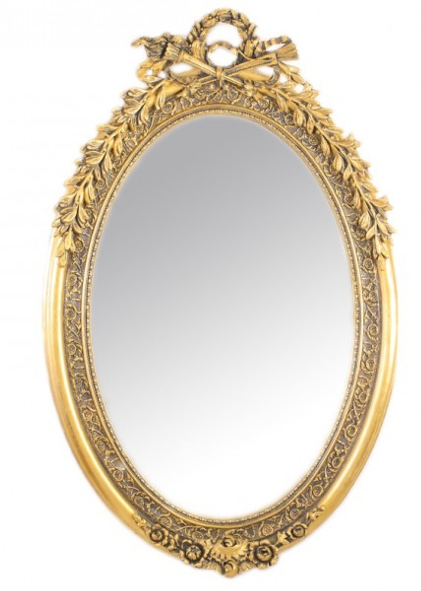 Casa padrino luxus barock wandspiegel oval gold 160 x 110 cm massiv und schwer goldener - Wandspiegel oval ...