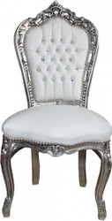 Casa Padrino Baroque Dinner Chair White / Silver Bling Bling rhinestones - Furniture
