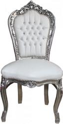 Casa Padrino Barock Esszimmer Stuhl Weiß/Silber mit Bling Bling Glitzersteinen - Möbel