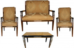Casa Padrino Baroque Empire Salon Set of 4 Gold Pattern / Black / Mahogany / Silver - bench + 2 chairs + coffee table