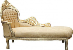 Casa Padrino Barock Chaiselongue Mod2 Gold Muster/Gold Linke Seite - Barock Möbel