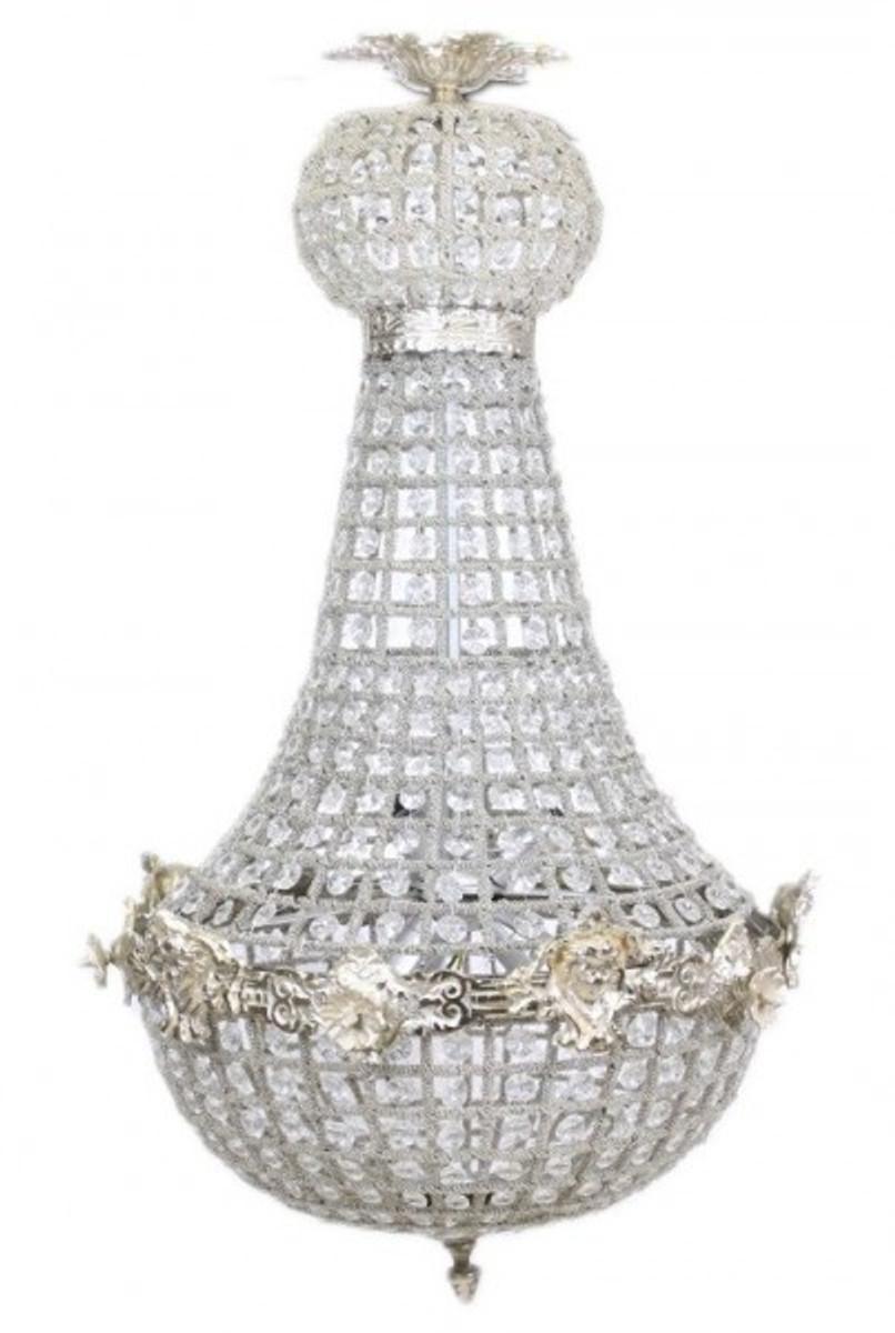 Casa padrino barock kronleuchter silber mit glaskristallen for Kronleuchter barock