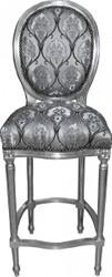 Casa Padrino Barock Bar Stuhl Silber Muster / Silber - Hochstuhl Barstuhl Barhocker - Club Möbel
