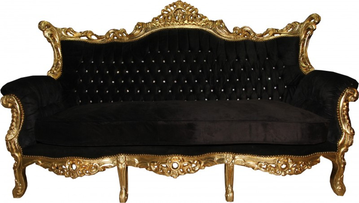 Casa Padrino Baroque Sofa Master Black Gold Bling Diamante Furniture Couch Lounge