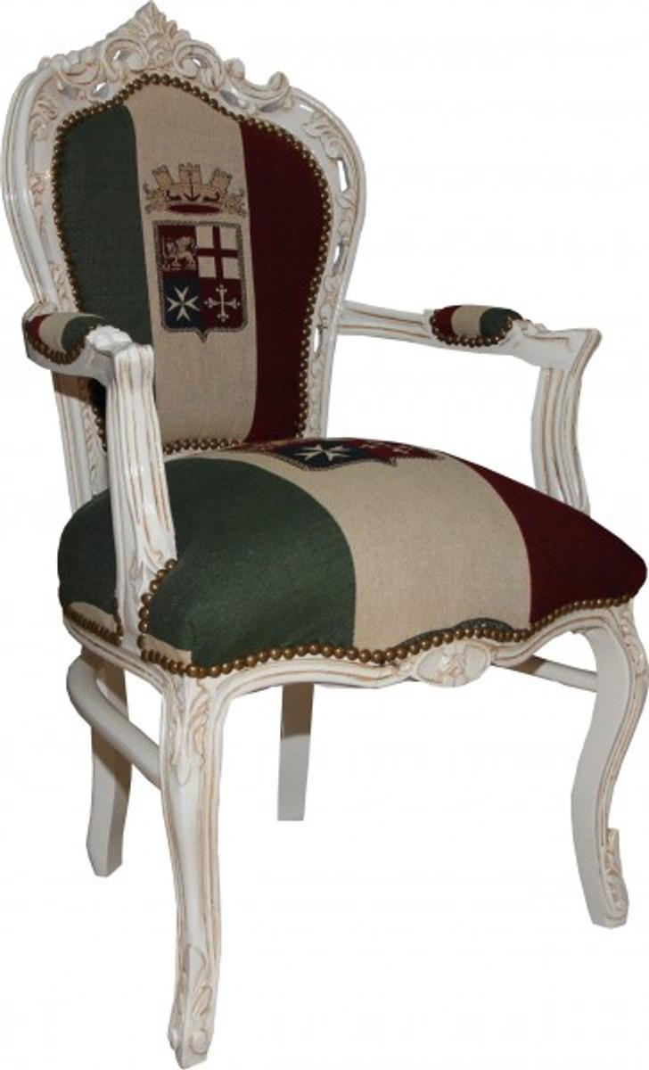 Casa Padrino Barock Esszimmer Stuhl Mit Armlehnen Italien / Weiß