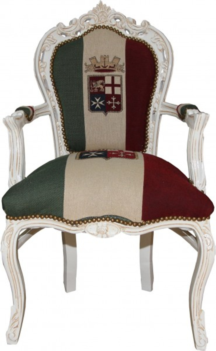 Casa Padrino Barock Esszimmer Stuhl Mit Armlehnen Italien / Weiß   Antik  Stil U2013 Bild 1
