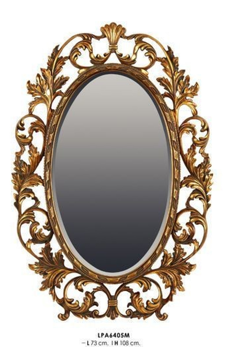 casa padrino luxus barock wandspiegel oval gold 108 x 73 cm massiv und schwer goldener. Black Bedroom Furniture Sets. Home Design Ideas