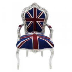 Casa Padrino Baroque Dinner Chair with armrests Union Jack / Silver - antique style