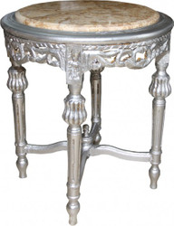 Casa Padrino Baroque table with marble top round silver 52 x 45 cm antique style - phone flower stand