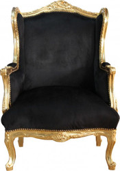 Casa Padrino Baroque Lounge throne Black / Gold Mod 2 - armchair - armchair Tron chair