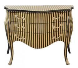 Casa Padrino Barock Kommode Streifen Creme / Schwarz - Handgefertigt aus Massivholz-  Limited Edition