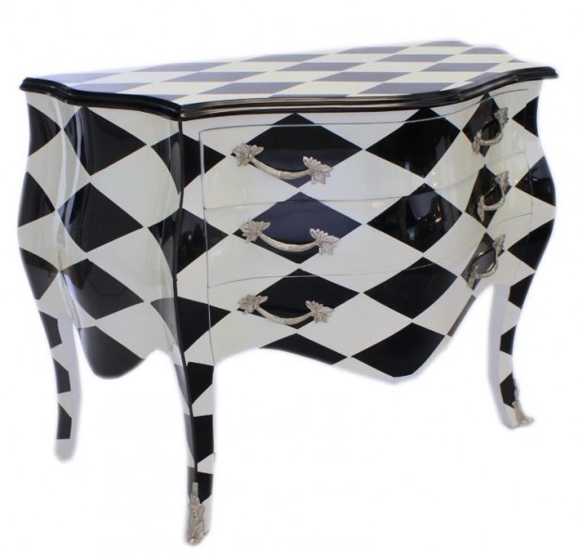 casa padrino barock kommode karo schwarz wei handgefertigt aus massivholz limited edition. Black Bedroom Furniture Sets. Home Design Ideas