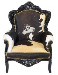 Casa Padrino Baroque armchair King Cow / Black Mod2 - Genuine Cowhide