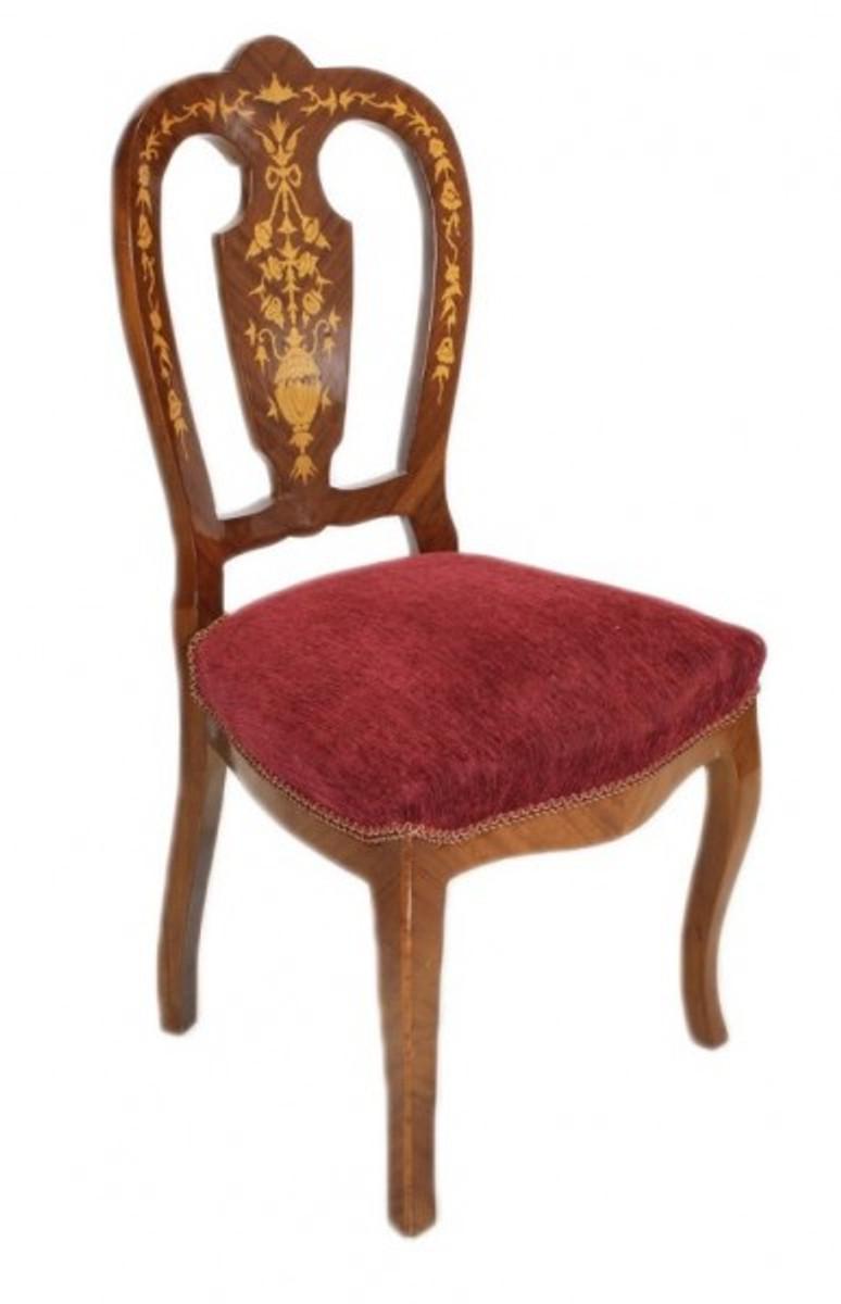 casa padrino barock luxus esszimmer stuhl bordeaux mahagoni intarsien antik stil m bel. Black Bedroom Furniture Sets. Home Design Ideas