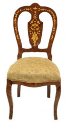 Casa Padrino Baroque luxury dining chair Gold Pattern / mahogany inlays - antique style - Furniture
